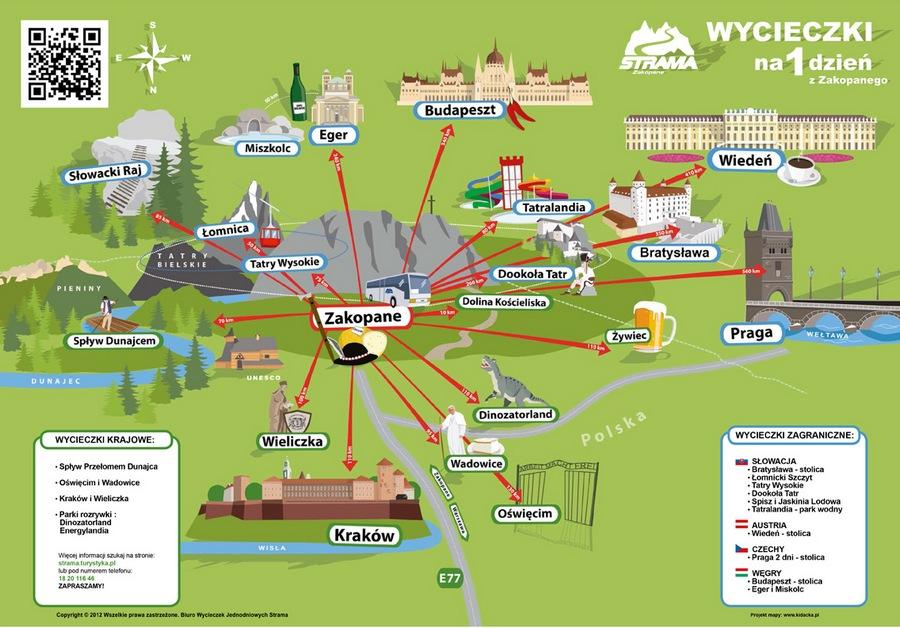 mapa wycieczek z Zakopanego